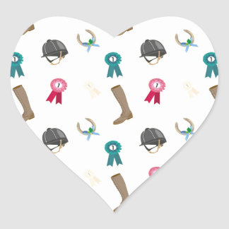 Horseback Riding in a modern style Heart Sticker