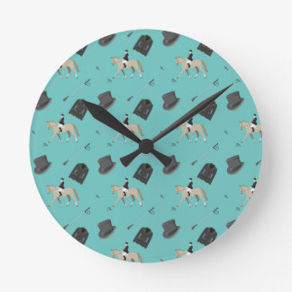 Horseback riding in a modern style round clock