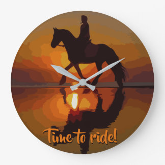 Horseback Riding.Personalized Gift for Horse lover Large Clock