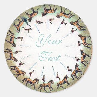 Horseback Sommersault Classic Round Sticker