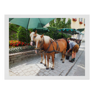 Horses and carriage in St Wolfgang Poster