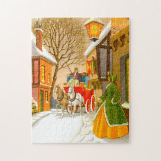 Horses and carriage in the snow jigsaw puzzle