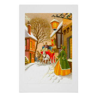 Horses and carriage in the snow poster