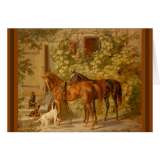 Horses and Dogs in Stable Yard Card