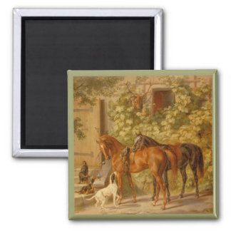 Horses and Dogs in Stable Yard Square Magnet