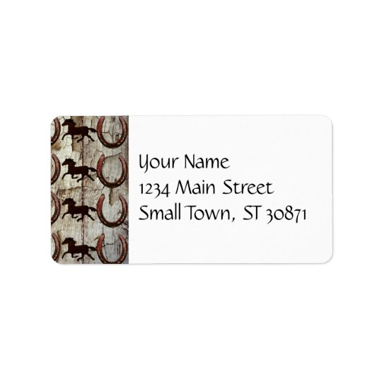Horses and Horseshoes on Barn Wood Cowboy Gifts Address Label