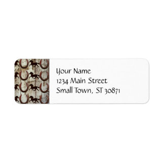 Horses and Horseshoes on Barn Wood Cowboy Gifts Return Address Label