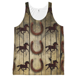 Horses and Horseshoes on Wood  backround Gifts All-Over Print Tank Top