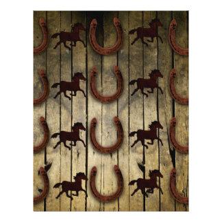 "Horses and Horseshoes on Wood  backround Gifts 8.5"" X 11"" Flyer"