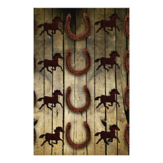 "Horses and Horseshoes on Wood  backround Gifts 5.5"" X 8.5"" Flyer"
