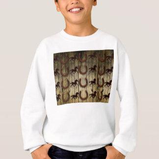 Horses and Horseshoes on Wood  backround Gifts Sweatshirt