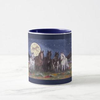 Horses and Night Moon Navy Blue Mug