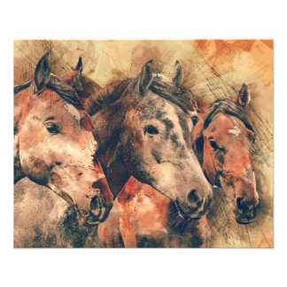 Horses Artistic Watercolor Painting Decorative 11.5 Cm X 14 Cm Flyer