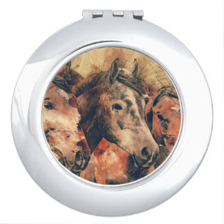 Horses Artistic Watercolor Painting Decorative Compact Mirrors