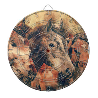 Horses Artistic Watercolor Painting Decorative Dartboard