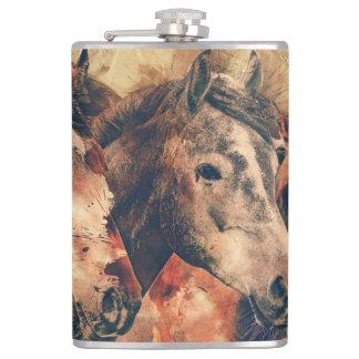 Horses Artistic Watercolor Painting Decorative Hip Flask