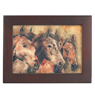 Horses Artistic Watercolor Painting Decorative Keepsake Box