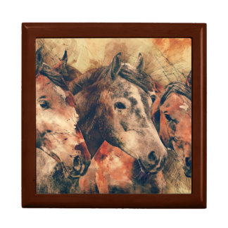 Horses Artistic Watercolor Painting Decorative Large Square Gift Box