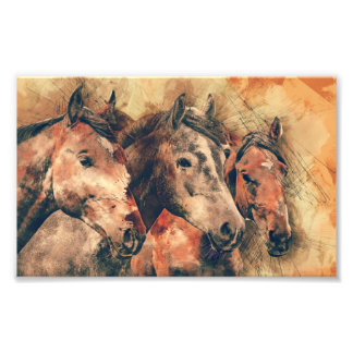 Horses Artistic Watercolor Painting Decorative Photo Print