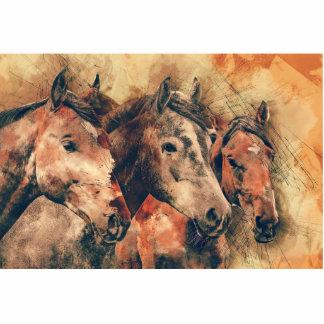 Horses Artistic Watercolor Painting Decorative Photo Sculpture Badge