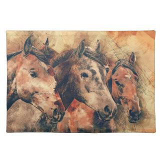 Horses Artistic Watercolor Painting Decorative Placemat