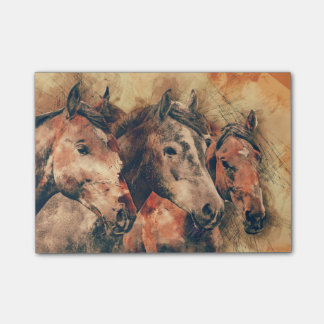 Horses Artistic Watercolor Painting Decorative Post-it Notes