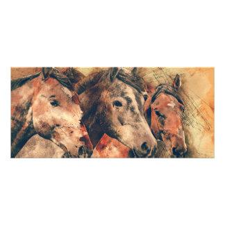 Horses Artistic Watercolor Painting Decorative Rack Card