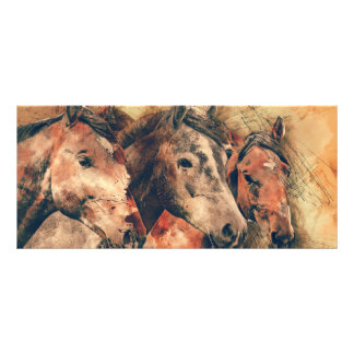 Horses Artistic Watercolor Painting Decorative Rack Card Template