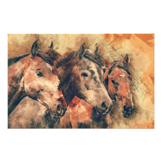 Horses Artistic Watercolor Painting Decorative Stationery