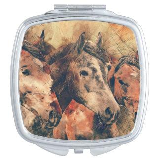 Horses Artistic Watercolor Painting Decorative Vanity Mirror