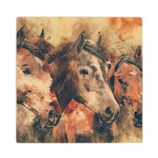 Horses Artistic Watercolor Painting Decorative Wood Coaster
