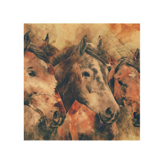 Horses Artistic Watercolor Painting Decorative Wood Print