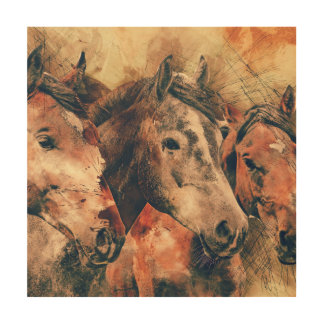 Horses Artistic Watercolor Painting Decorative Wood Wall Decor