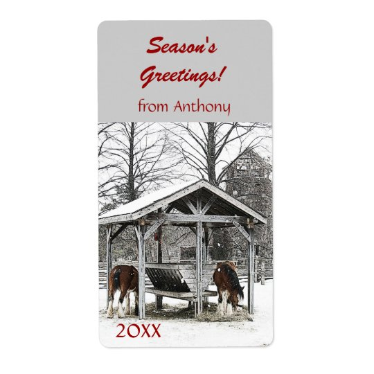 Horses at stable Season's Greetings wine label Shipping Label