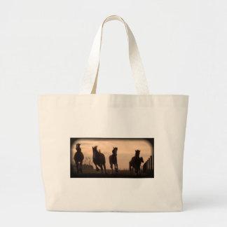 horses at sunset landscape large tote bag