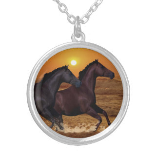 Horses at sunset necklace