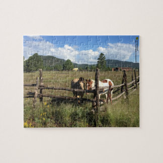 Horses At The Split Rail Fence Photograph Jigsaw Puzzle