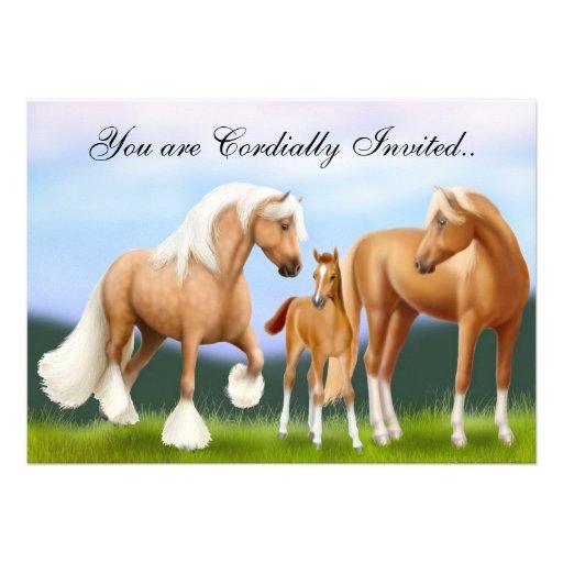 Horses Baby Shower Announcement Invitation
