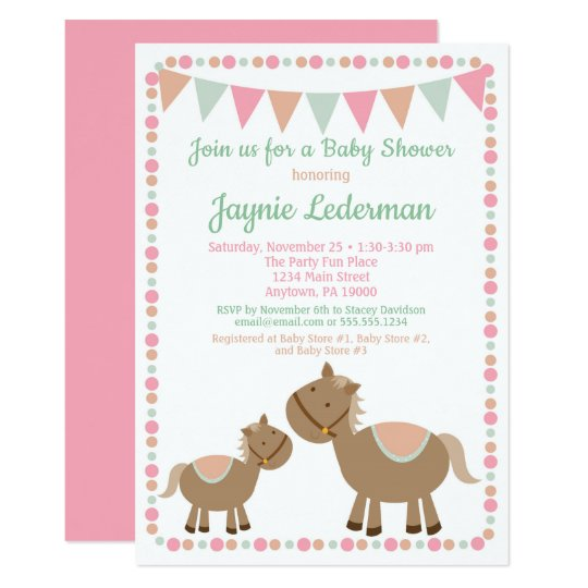 Horses Baby Shower Invitation Country Girl Pink