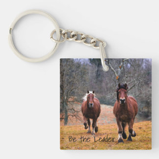 Horses Be The Leader Double-Sided Square Acrylic Key Ring