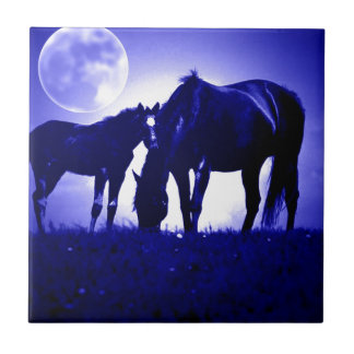 Horses & Blue Night Small Square Tile