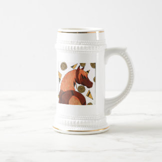 Horses: Chestnut in the sunset, swirling shapes Beer Steins