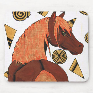 Horses: Chestnut in the sunset, swirling shapes Mouse Pad