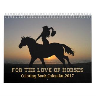 Horses Colouring Book Calendar 2017