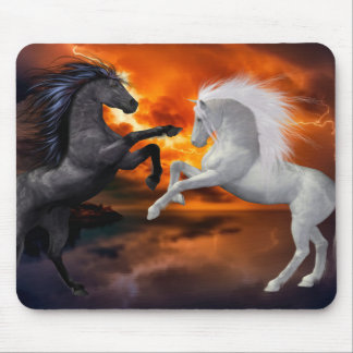 Horses fighting in a bad lightning storm mouse pad