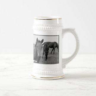 Horses funny beer mug