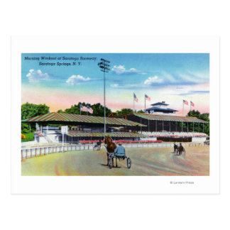 Horses Getting a Morning Workout on the Track Postcard