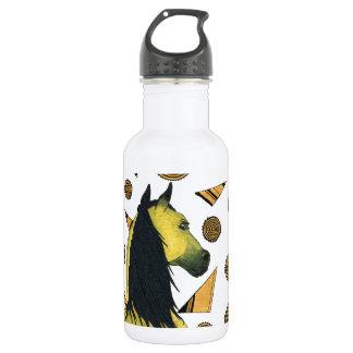 Horses: Golden and black, swirling shapes 532 Ml Water Bottle