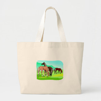 Horses Graze Field Colorful Drawing Equine Theme Large Tote Bag