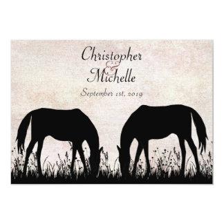 Horses Grazing Equestrian Wedding Invitation